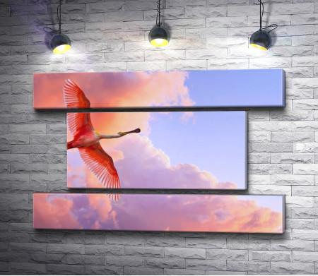 Красный аист в полете