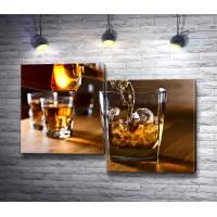 Виски в стакане со льдом