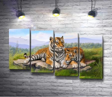 Пара тигров на отдыхе