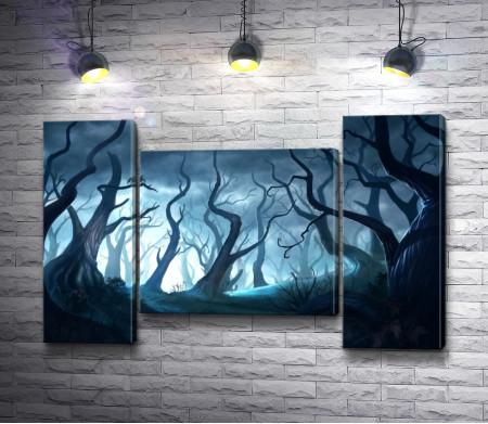Жуткий лес из сухих деревьев