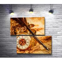 Старинные часы, перо и карта