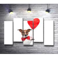 Собачка с шариком в форме сердца