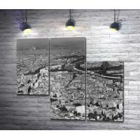 Париж. Черно-белая панорама с Эйфелевой башней
