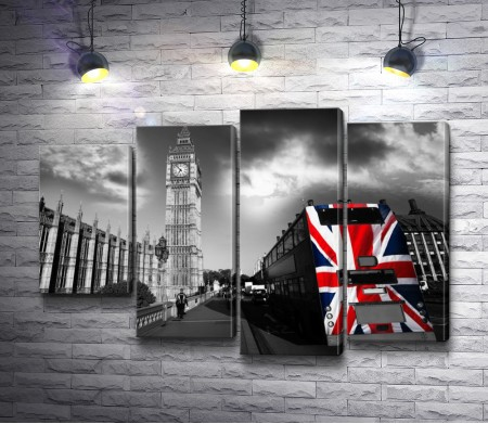 Лондонский автобус с флагом. Черно-белое фото