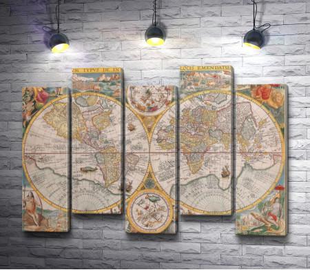 Древняя карта мира. Винтаж