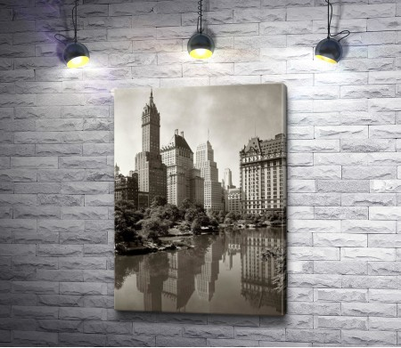 Черно-белый Нью-Йорк, площадь Таймс-сквер