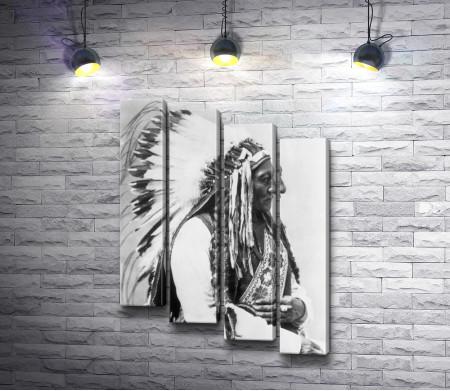 Черно-белый портрет мудрого индейца