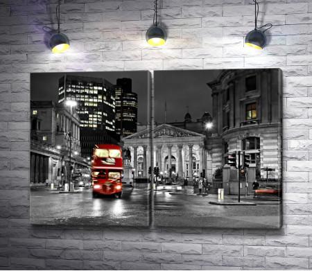 Лондонский автобус на Оксфорд-стрит. Черно-белая гамма