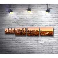 Панорама городских небоскребов, Даунтаун-Калгари, Канада