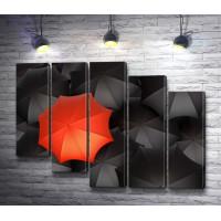 Зонтики: красный и черные