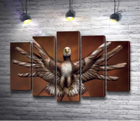 Орел: бодиарт на руках
