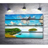 Самолет над тропическим островом