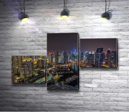 Ночные огни в Дубаях. Эмираты