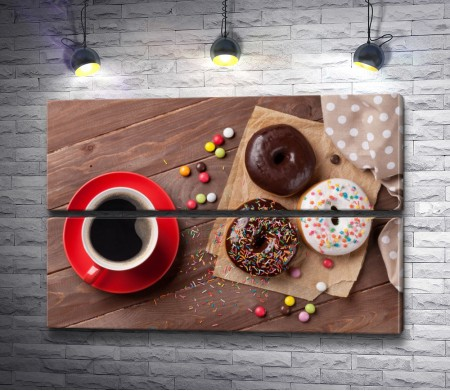 Чашка американо и пончики Донатс
