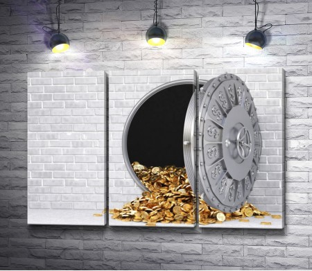 Золотые монеты высыпались из сейфа