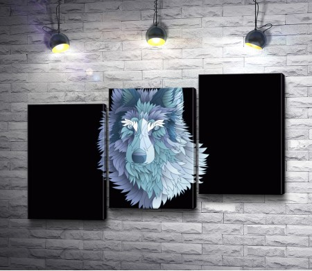Голубой волк на черном фоне