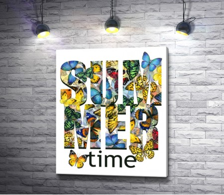 """Надпись """"Summer Time"""" (Летнее время) в бабочках"""