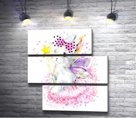 Зайчик-фея с бантиком на голове и волшебной палочкой