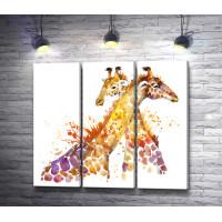 Два жирафа обнимаются