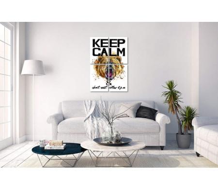 """Надпись """"Keep calm & don't eat after 6 p.m"""" с медвежьей головой"""