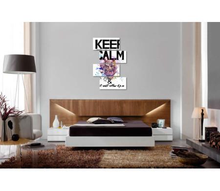 """Надпись """"Keep calm & don't eat after 6 p.m"""" с головой носорога"""