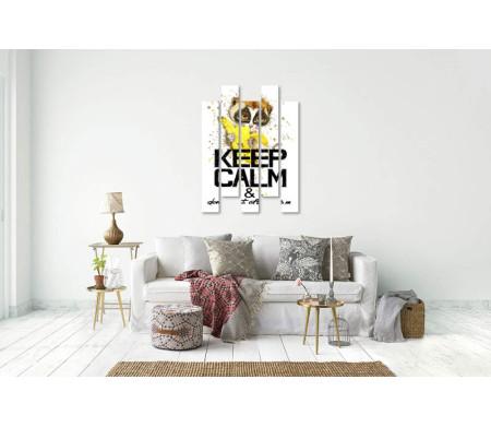 """Постер """"Сохраняй спокойствие и не ешь после 6"""" с лемуром и бананом"""