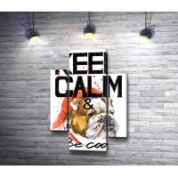 """Постер """"Keep Calm & be cool"""" с бульдогом в кепке"""