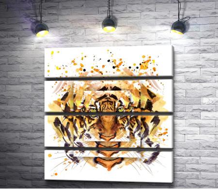 Тигр в зеркальном преломлении