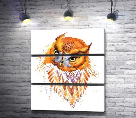 Рыжая сова с узорами