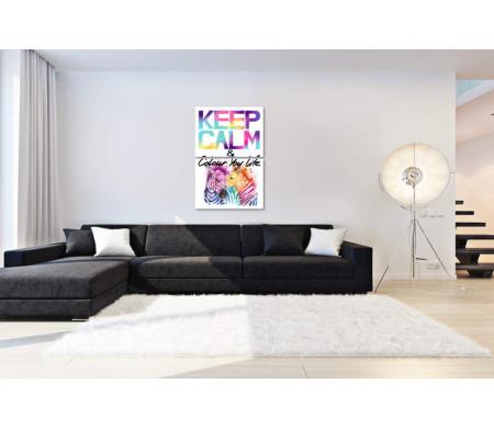 """Постер """"Keep Calm & colour life"""" с разноцветными зебрами"""