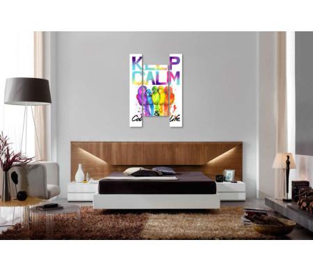 """Яркий постер """"Keep Calm & colour life"""" с разноцветными попугаями"""