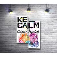 "Мотивационный постер ""Keep Calm & colour life"" с зебрами"