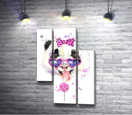 Панда в очках-сердечках с высунутым языком и конфетой