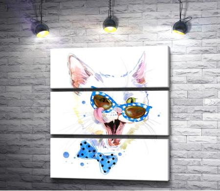 Белый кот в очках