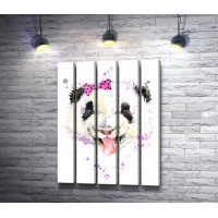 Веселая панда с розовым бантиком