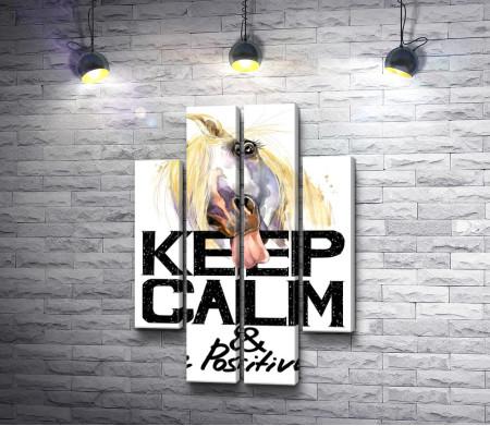 "Плакат ""Keep Calm & Be Positive"" с лошадью, которая высунула язык"