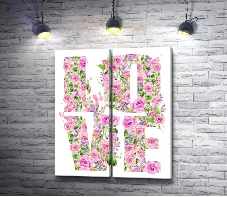 """Надпись """"LOVE"""" в розах"""