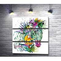 Зебра в тропической окраске с цветами