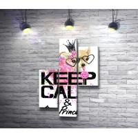 "Постер ""Keep Calm & Be Princess"" с чихуахуа в короне с леденцом"