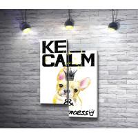 "Постер ""Keep Calm and Be Princess"" с французским бульдогом в короне"