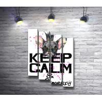 "Плакат ""Keep Calm and Be Princess"" с французским бульдогом в короне"