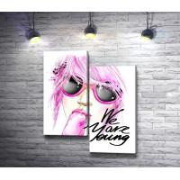 """Плакат c надписью """"We are young"""" и девушкой, которая ест мороженое"""