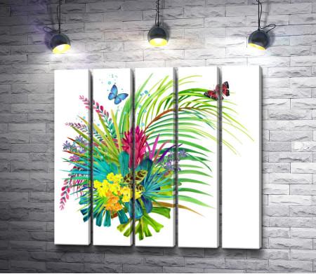 Цветочный букет с бабочками