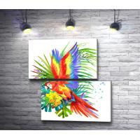 Яркий попугай с букетом