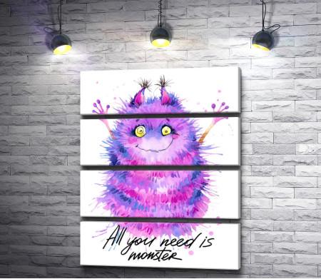 "Забавный монстр и надпись ""All you need is monster"""