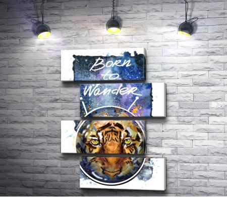 """Тигр """"Born to wander"""". Плакат"""