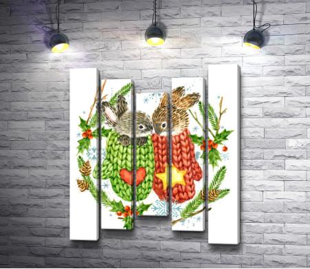 Пара рождественских кроликов