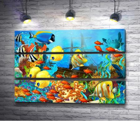 Коралловые рыбки на океанском дне