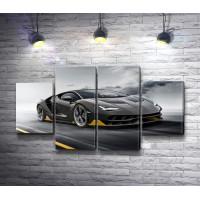 Lamborghini мчится по шоссе