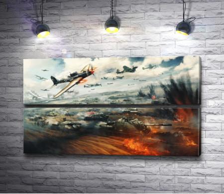 Военная операция с танками и самолетами